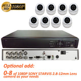 [Package] 8CH True-HD 5in1 TVI/CVI/AHD/CVBS DVR + 1080P 2.8-12mm Lens Varifocal In/Outdoor Dome Cameras(White) - 101AVInc.