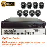 [Package] 8CH True-HD 5in1 TVI/CVI/AHD/CVBS DVR + 1080P SONY STARVIS 2.8-12mm Lens Varifocal In/Outdoor Dome Cameras (Charcoal) - 101AVInc.