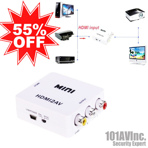 Mini Composite HDMI to AV/CVBS Video Converter 720p/1080p (HDMI to 3RCA) - 101AVInc.