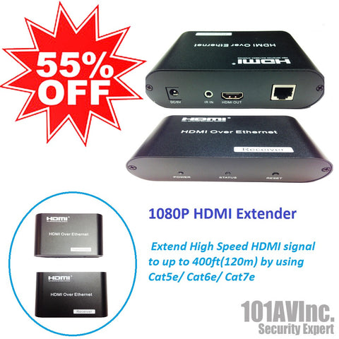 1080P HDMI Ethernet Cable Extender extend HDMI AV signal to 120m over Cat5e/6/7 - 101AVInc.