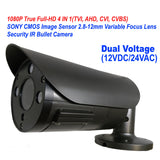 1080P 4IN1 TVI/AHD/CVI/CVBS 2.8-12mm Varifocal Lens In/Outdoor Bullet Camera Dual Power DC12V AC24V (Black) - 101AVInc.