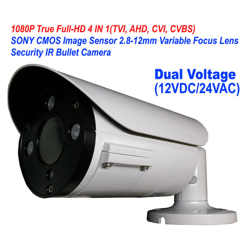 1080P 4IN1 TVI/AHD/CVI/CVBS 2.8-12mm Varifocal Lens In/Outdoor Bullet Camera Dual Power DC12V AC24V (White) - 101AVInc.