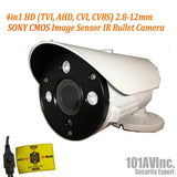 1080P 4in1 TVI/AHD/CVI/CVBS 2.8-12mm Varifocal Lens IR In/Outdoor Bullet Camera 12V (Black)