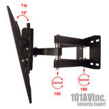 "Full Motion Dual Arm LCD LED TV Wall Mount 23"" ~ 65"" Tilt Swivel Up to 88 lbs - 101AVInc."