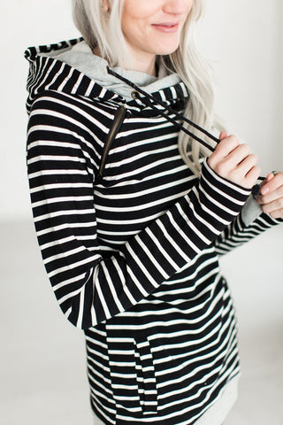 DoubleHood Sweatshirt - Black Stripe