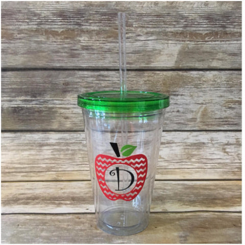 Acrylic Tumbler Double Wall 16 Oz with Straw