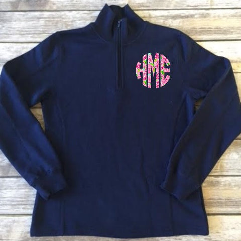 Applique Bandless Quarter Zip
