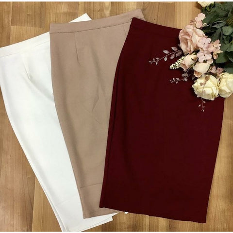 LUV1412 Pencil Skirt White