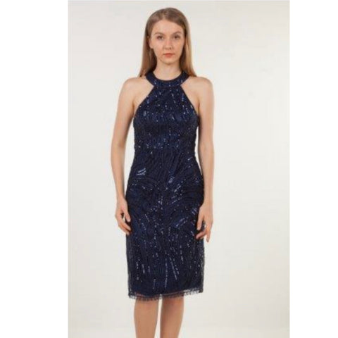 2982 High Neck Seq.Midi Navy