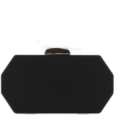 EK63937 Suede Hexagon Clutch Black