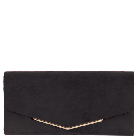 EK65015 Suede Envelope Clutch Black
