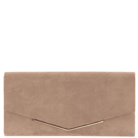 EK65015 Suede Envelope Clutch Biscuit