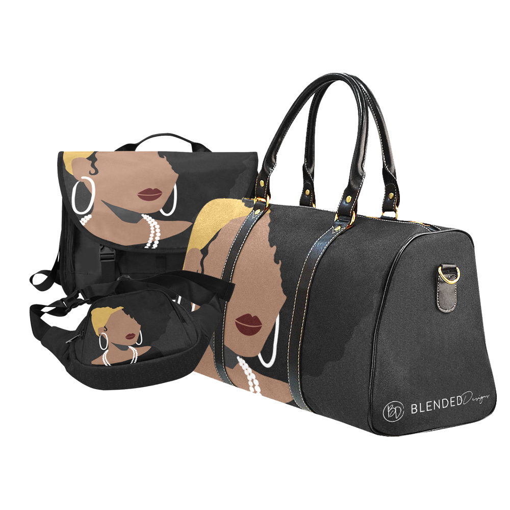 Bags with Black / African American Women. Laptop bag, luggage bag, fanny pack. Black gray yellow white red