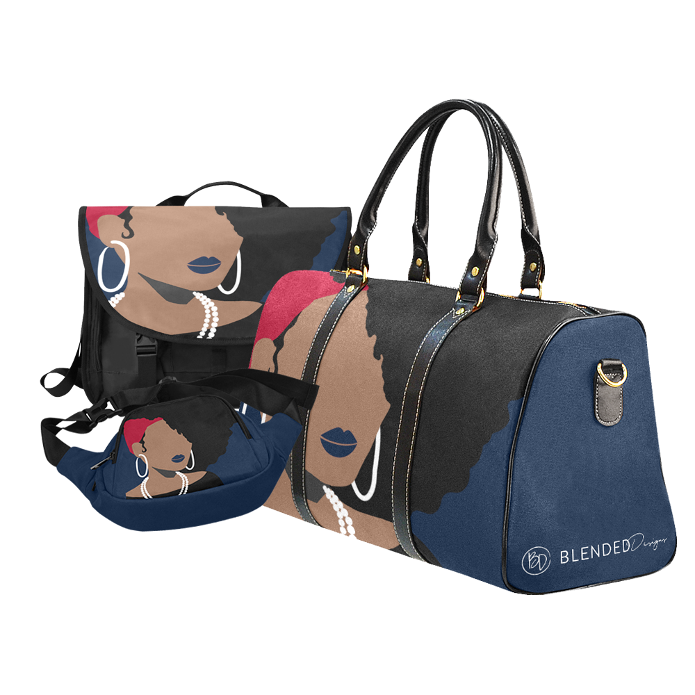 Blues and Red Bags with African American Black Woman. Natural hair. Fanny Pack, Luggage bag and laptop bag.