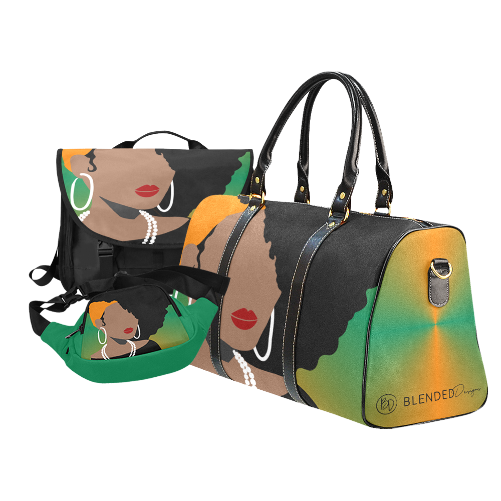 Greens and Teals Collection of Fanny Pack, Laptop, and Luggage Bags by Blended Designs