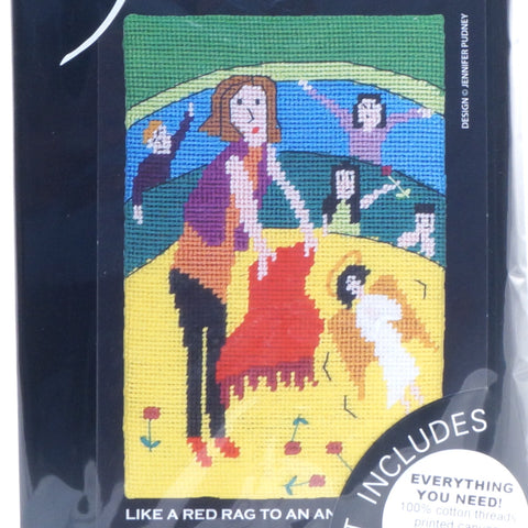 Jennifer Pudney Needlepoint Tapestry - Like a Red Rag to an Angel - Hands Craft Store