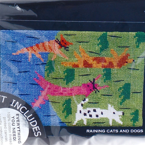 Jennifer Pudney Needlepoint Tapestry - Raining Cats and Dogs - Hands Craft Store