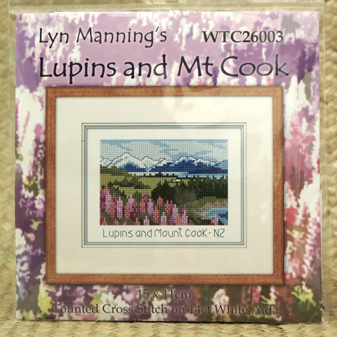 Lupins and Mt Cook Cross Stitch - Hands Craft Store