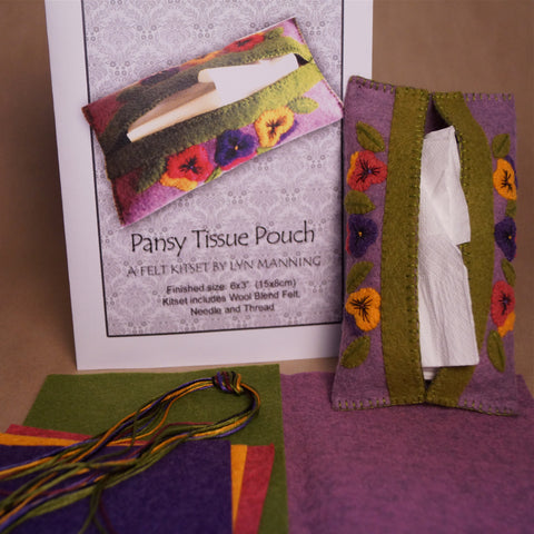 Tissue Pouch Felt Kitset - Pansy - Hands Craft Store