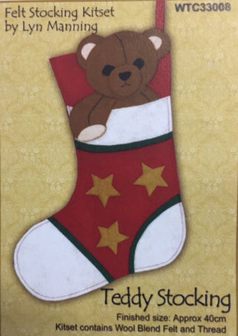 Teddy FELT STOCKING KITSET 40CM - Hands Craft Store