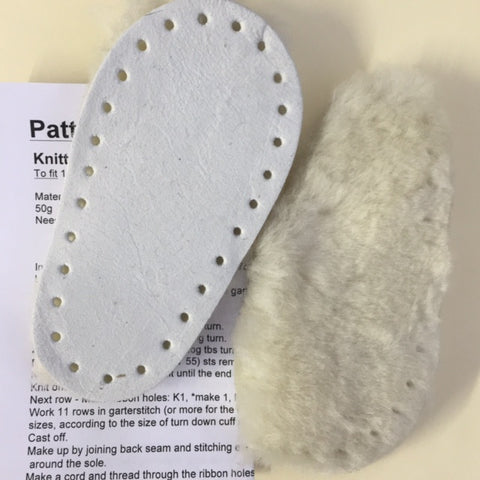 New Sheepskin Slipper Soles + Free Pattern Size 14cm Toddler - Hands Craft Store