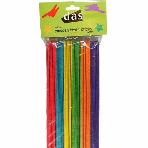 DAS Wooden Craft Sticks - Coloured - Hands Craft Store