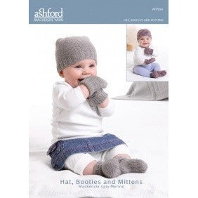 Hat, Botties and Mittens - Pattern Mackenzie Yarn - Hands Craft Store