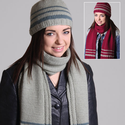Striped Beanie and Scarf