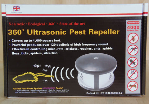 EBC Envirobug, 360 Degree Ultrasonic Pest Repeller Black-Silver- 7 Target  Pack - Envirobug