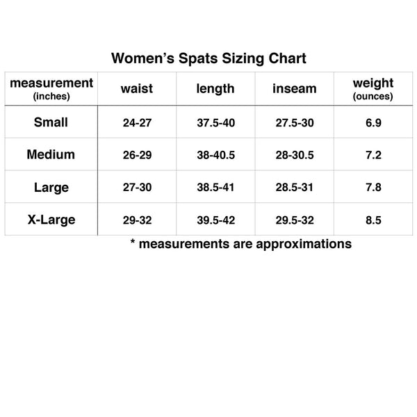 Womens Spats Sizing Chart | No Judges Needed