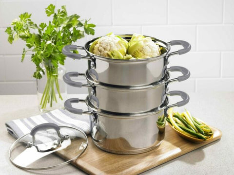 Argon 3 Tier  Steamer with Glass Lid