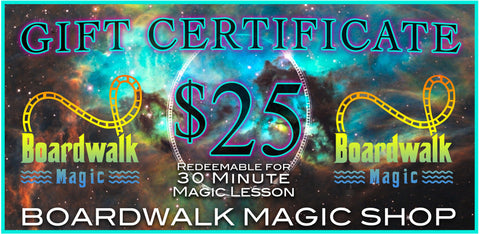 Gift Certificates for Boardwalk Magic Shop