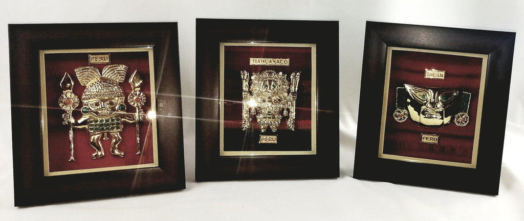 Inca Paintings Gold plated 24 karat art decor frame set of 3 Aspen Andes