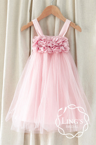 Chic Pink Tutu Flower Girl Dress