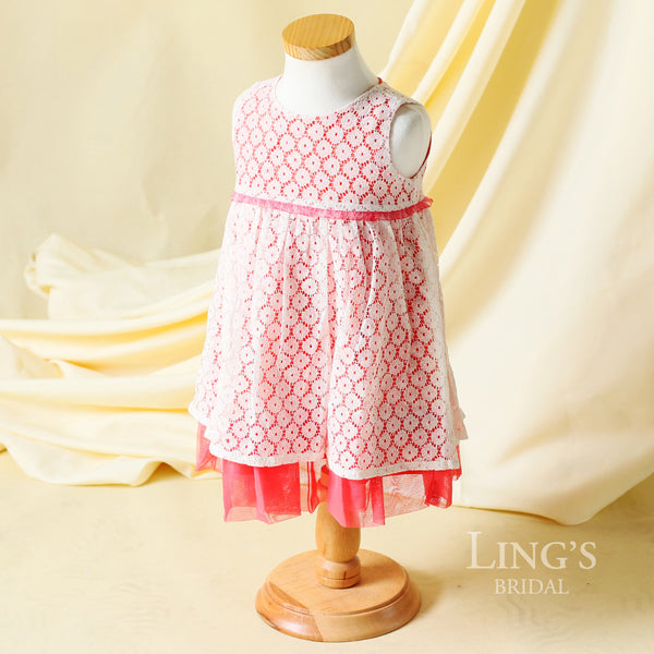 Coral Lace Cotton Embrodiery Flower Girl Dress