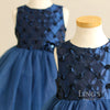 Navy Blue Rosette Tutu Flower Girl Dress