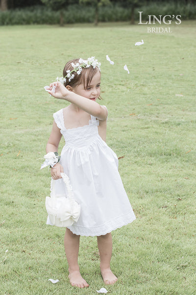 White Embroidered Flower Lace Dress