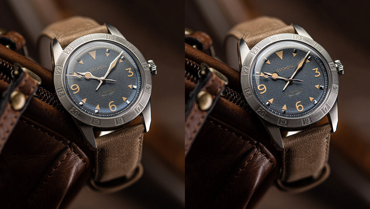 2 images of the Geckota E-01 Gen 2 showing different styles of flecto within watch photography.