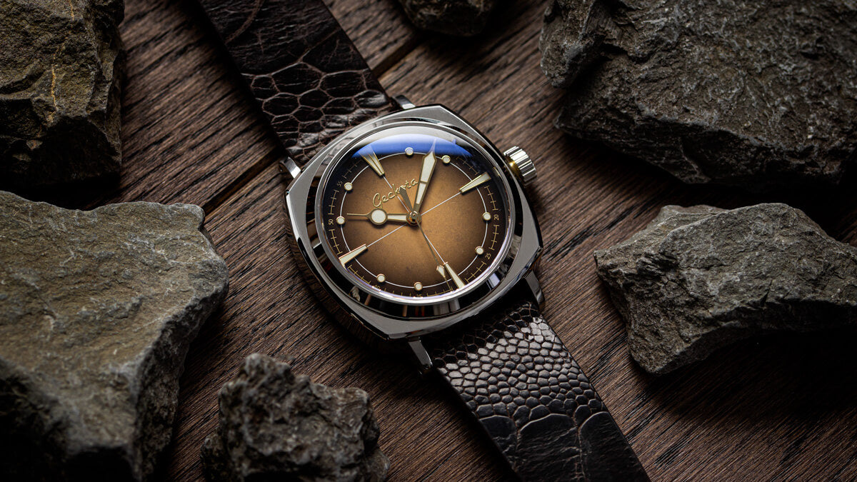 The Geckota G-01 Rust Dial watch fitted to the Ostrich Leg leather watch strap.