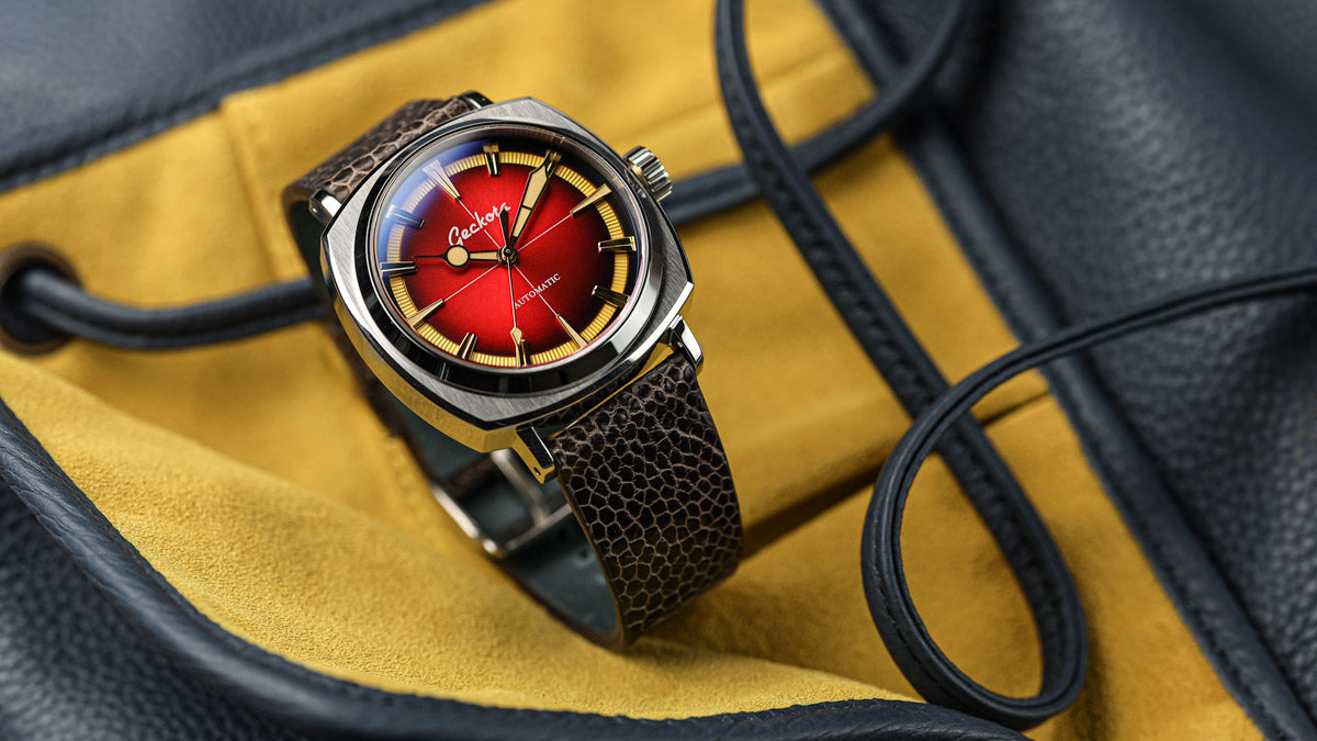 The Geckota G-01 Arctic Edition in Red is supplied on a genuine handmade ostrich leather strap