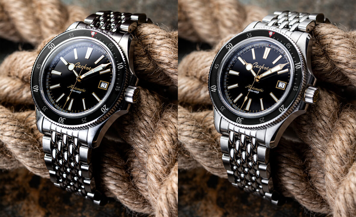 2 images of the Geckota G-01. The right image features a strong directional light, whereas the image on the left has been diffused with a diffuser.