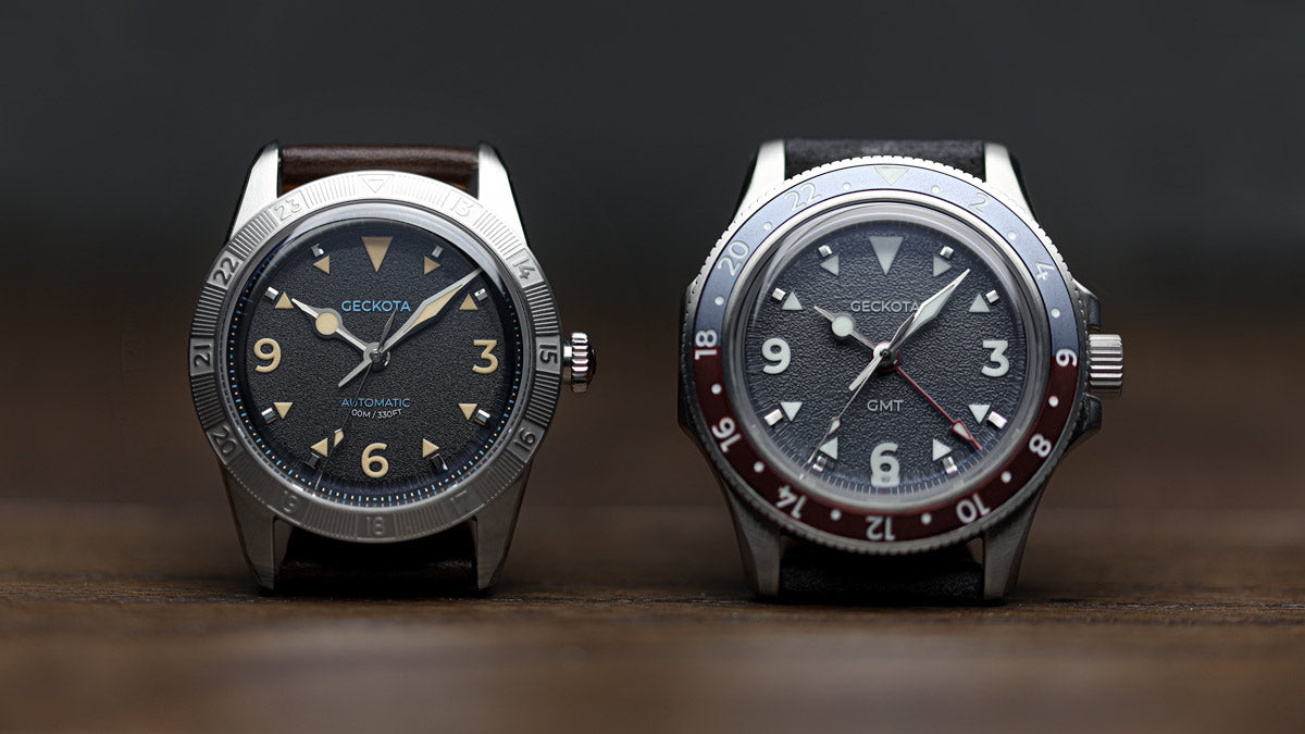 Side by side comparison of the Geckota GMT and Geckota E-01 Gen 2 watch photography