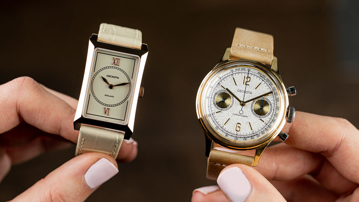The R-01 Rectangular Dress Watch and The W-02 Vintage Mechanical Chronograph Dress Watch
