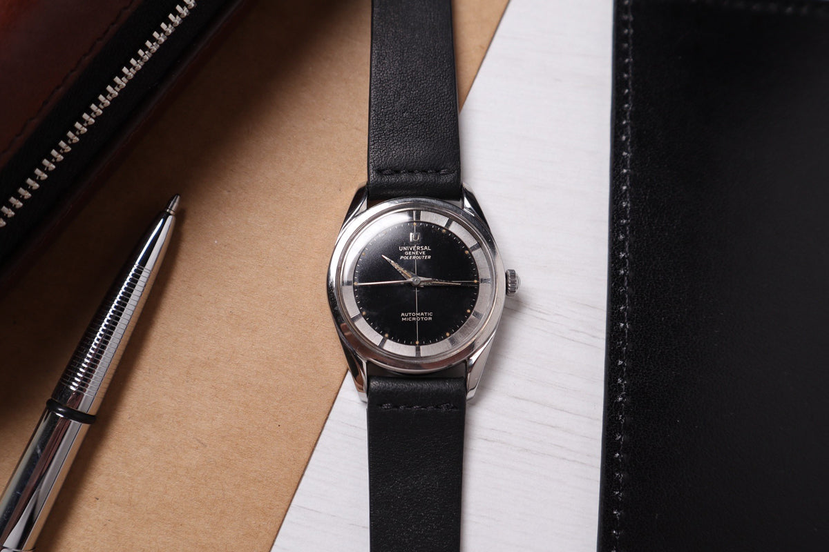 The Universal Genève Polerouter with micro rotor and black dial