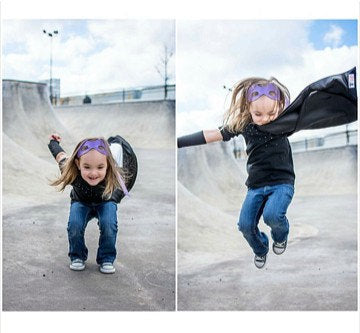 Girl Jumping in Superhero Cape - Pip and Bean