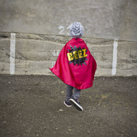 Pip and Bean Red and Blue Superhero cape with POW and METALLIC GOLD Personalized name - Choose your name - long 26
