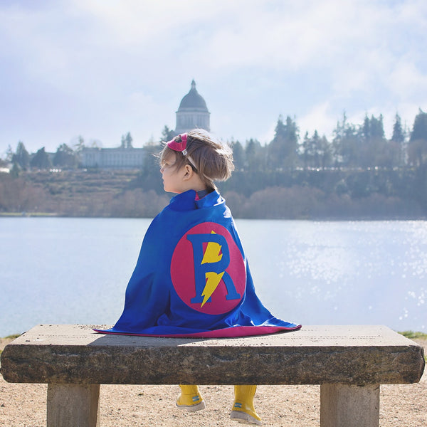 Blue and Hot Pink Personalized Superhero Cape