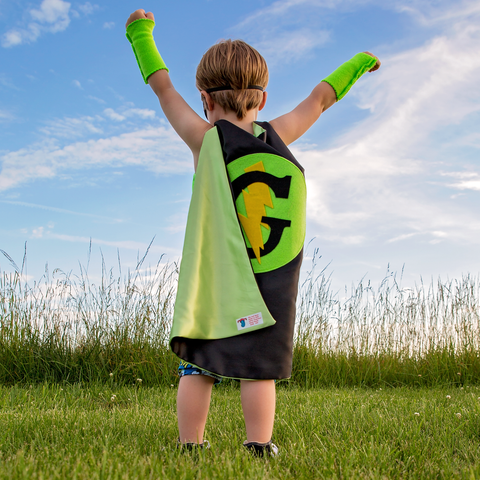Pip and Bean Black and Lime Personalized Superhero Cape with Lightning Bolt