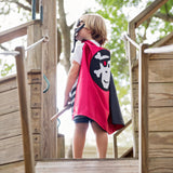 Children's Black and Red Pirate Skull & Crossbones Cape
