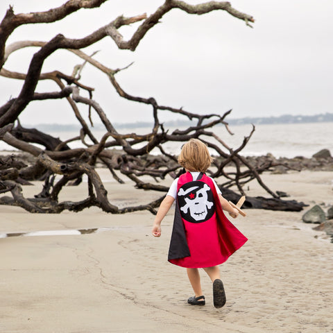 Pip and Bean Children's Black and Red Pirate Skull & Crossbones Cape